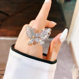 Crystal Rhinestone Adjustable Butterfly Ring Round